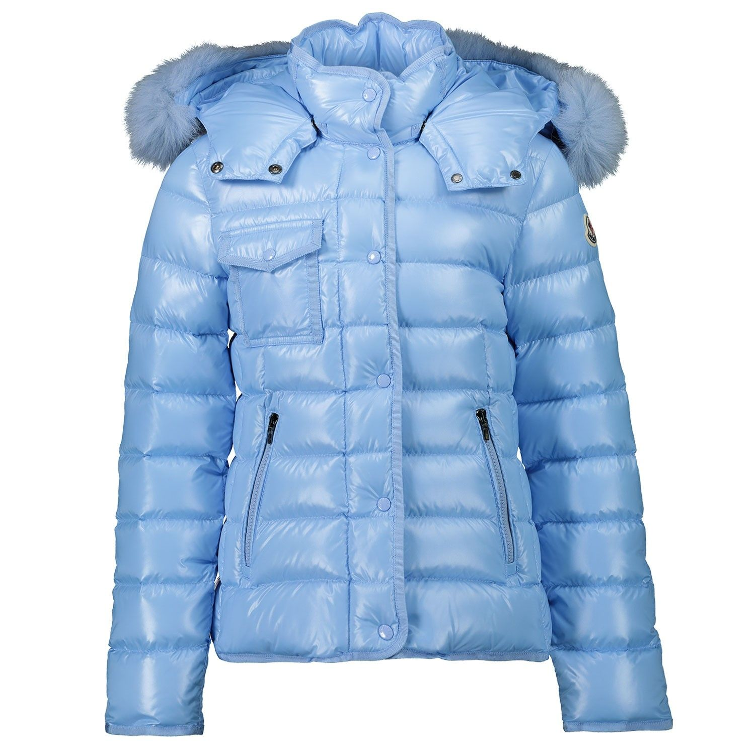 Picture of Moncler 1A54912 kids jacket light blue