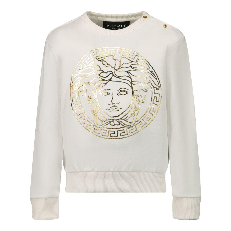 Afbeelding van Versace 1000174 baby trui wit/goud