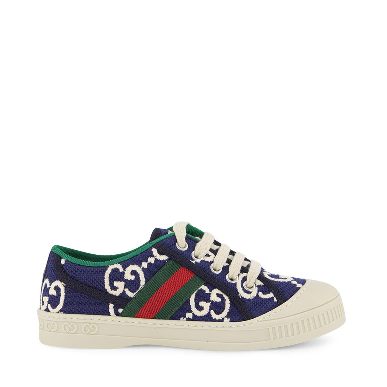 Afbeelding van Gucci 647075 kindersneakers navy/wit