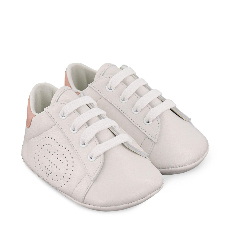 Afbeelding van Gucci 626618 babysneakers licht roze/wit