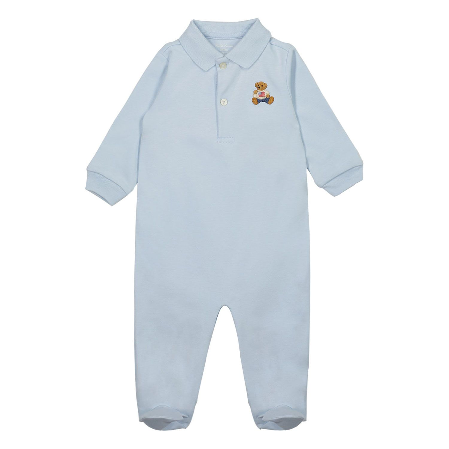 Picture of Ralph Lauren 320685653 baby playsuit light blue