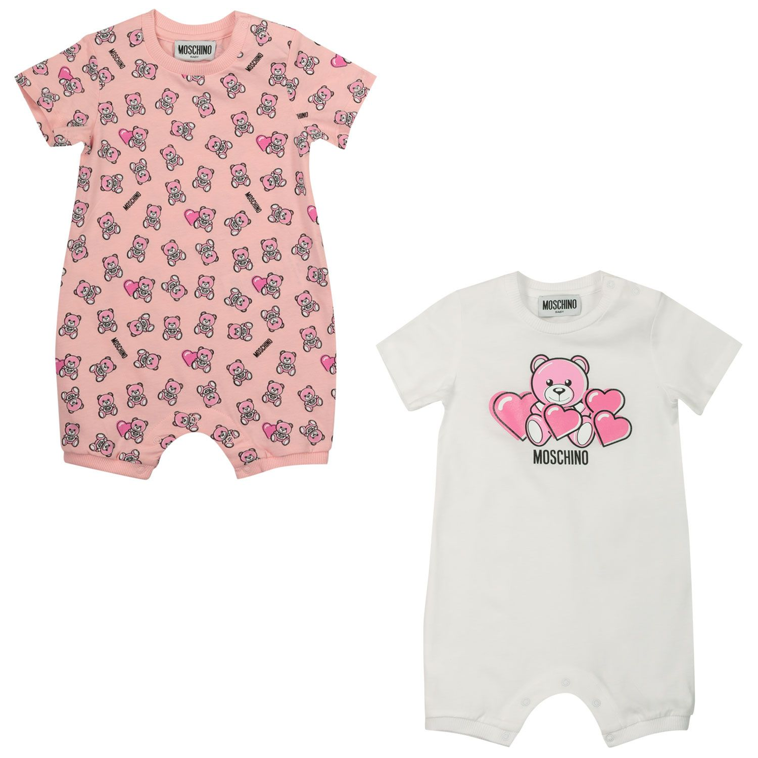 Picture of Moschino MMY02P baby playsuit pink