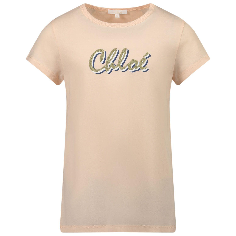 Picture of Chloé C15B30 kids t-shirt light pink