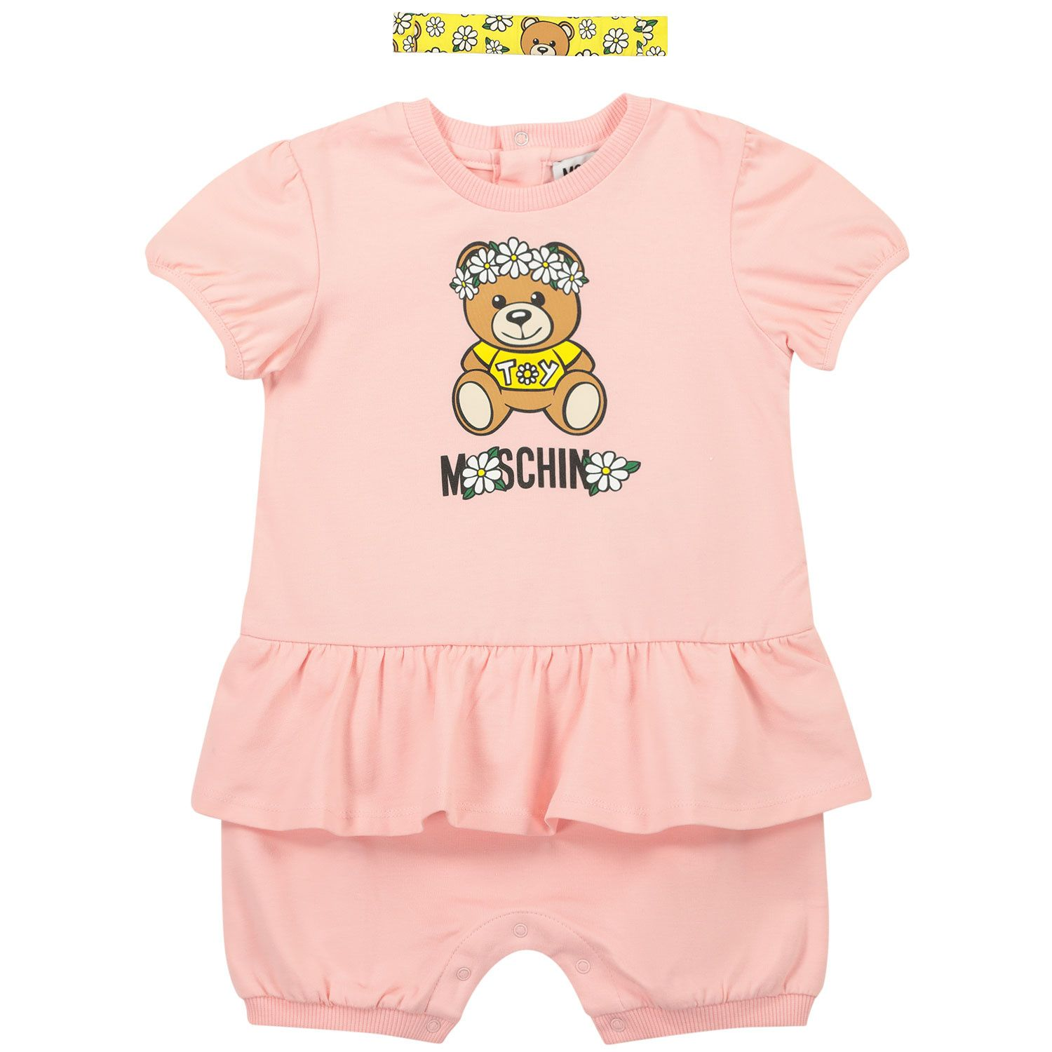 Picture of Moschino MDY00N baby playsuit light pink