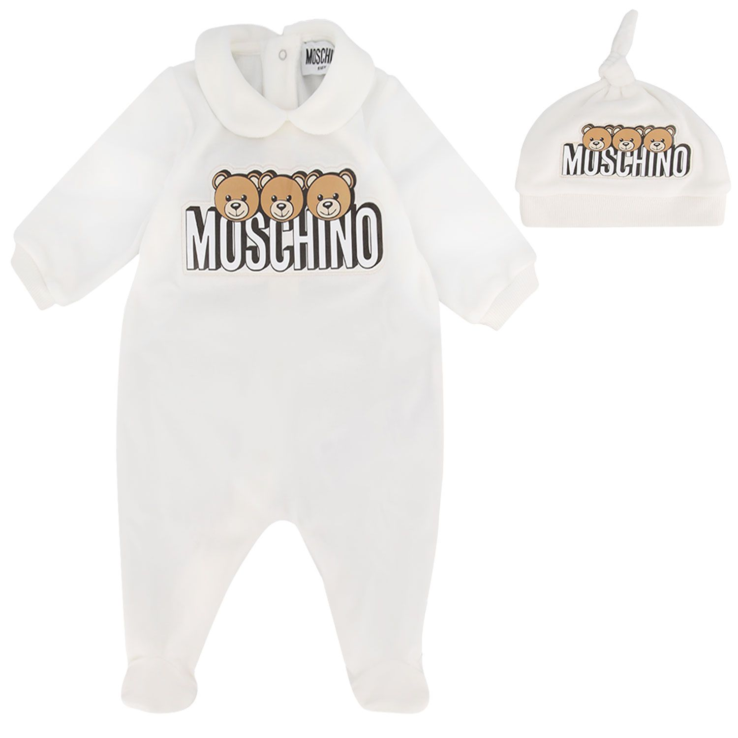Picture of Moschino MMY02X baby playsuit off white
