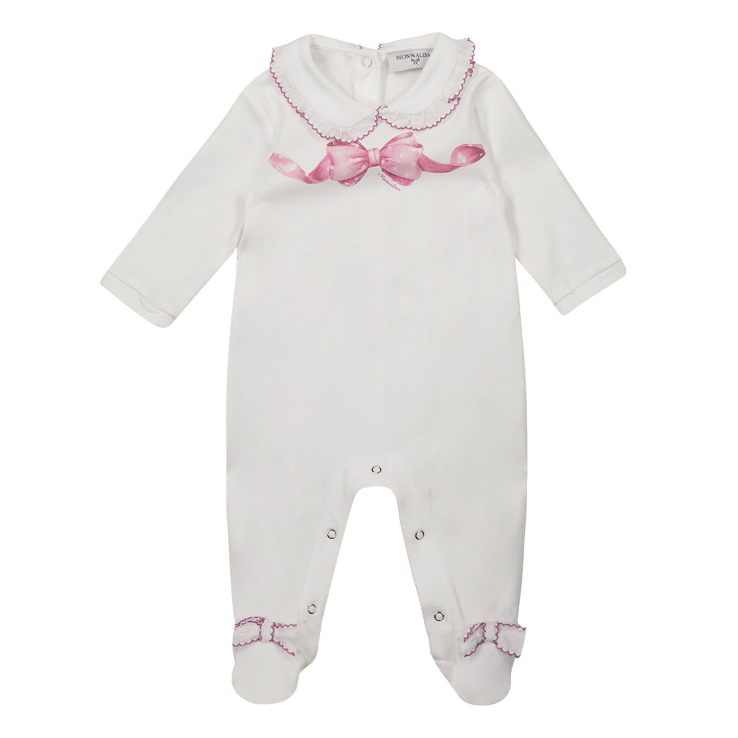 Picture of MonnaLisa 357211PK baby playsuit white