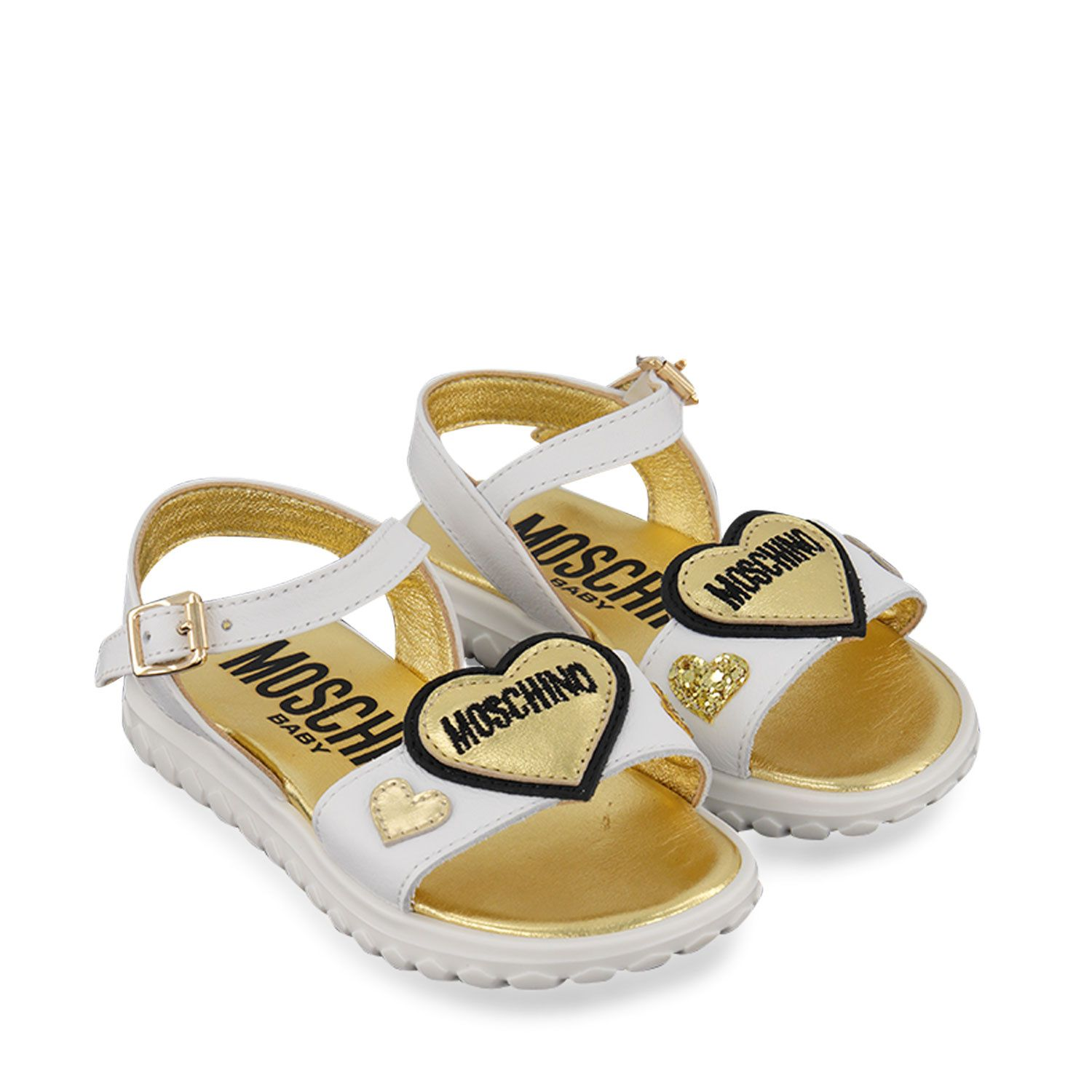 Picture of Moschino 67352 kids sandals white