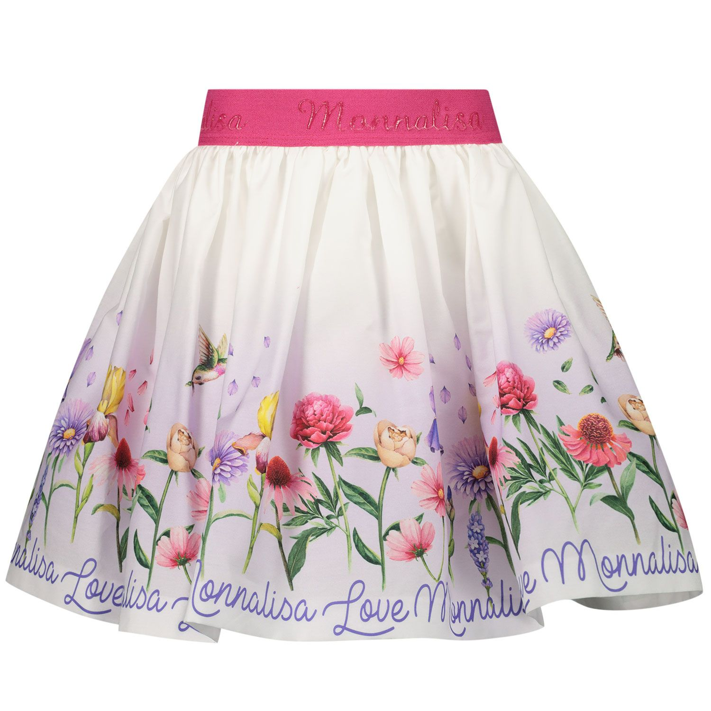 Afbeelding van MonnaLisa 117701 kinderrokje wit/roze