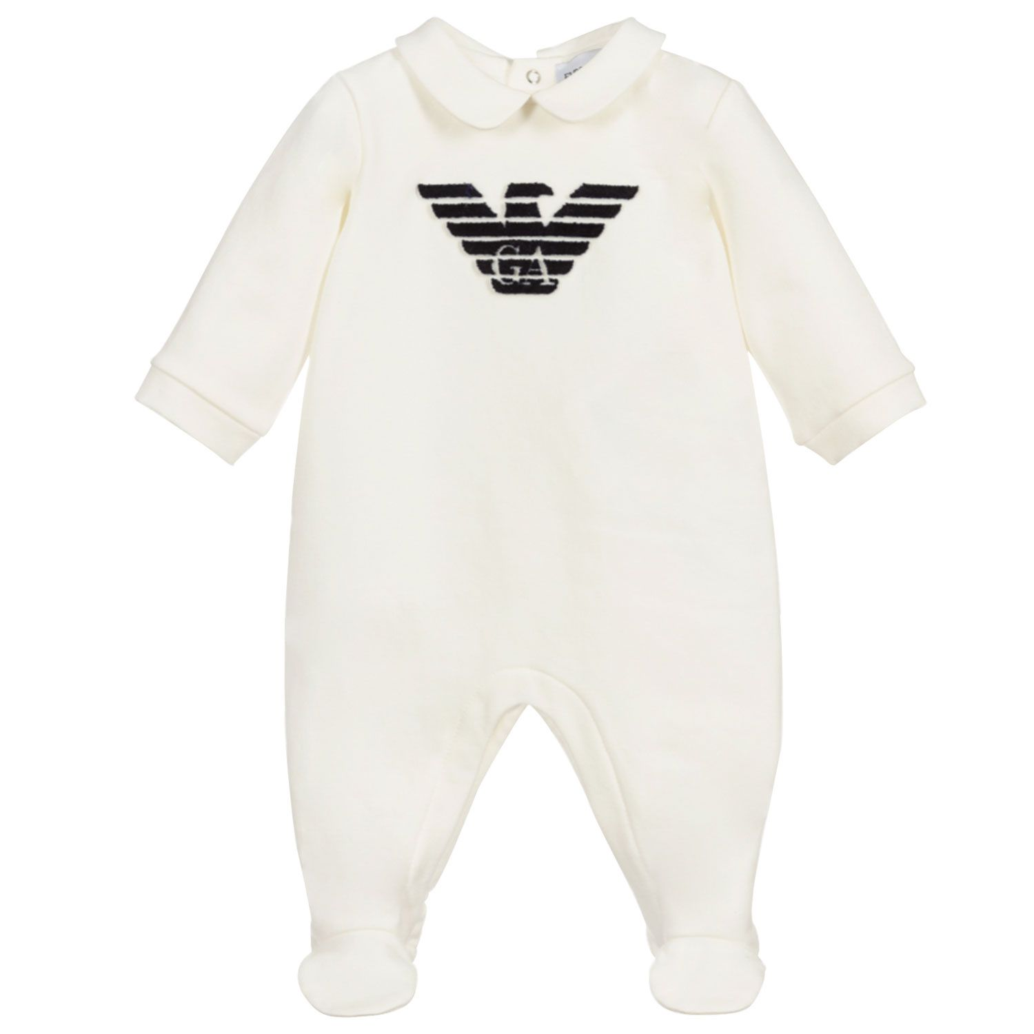 Picture of Armani 6KND06 baby playsuit off white