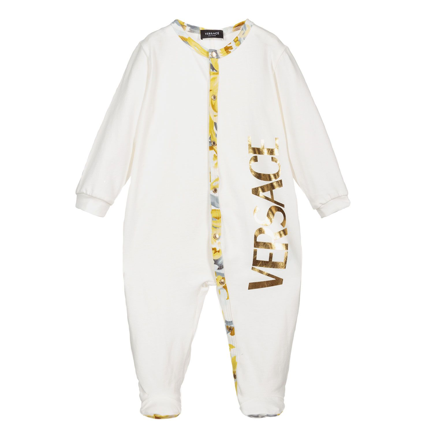 Picture of Versace 1A01076 baby playsuit white