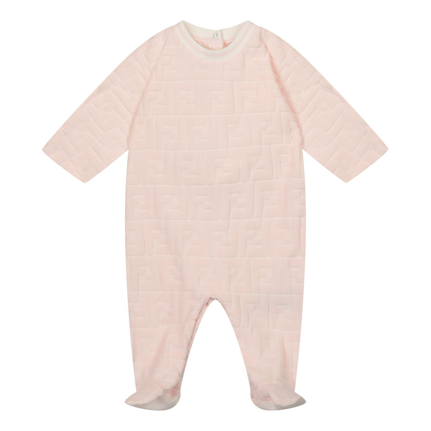 Picture of Fendi BUL056 ACA8 baby playsuit light pink