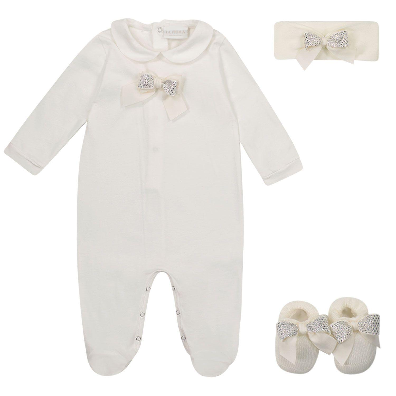 Picture of La Perla 48374 Y2U baby playsuit off white