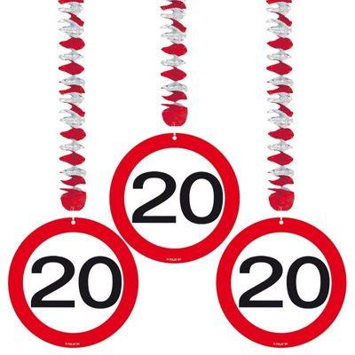 Hangdecoratie Verkeersbord 20 jaar/3stk