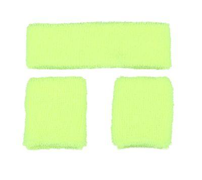 Neon zweetband hoofd en pols geel