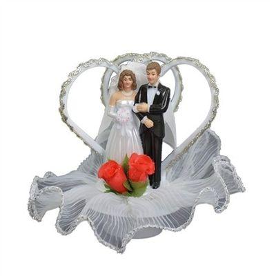Taartversiering Bruidspaar Twee Harten