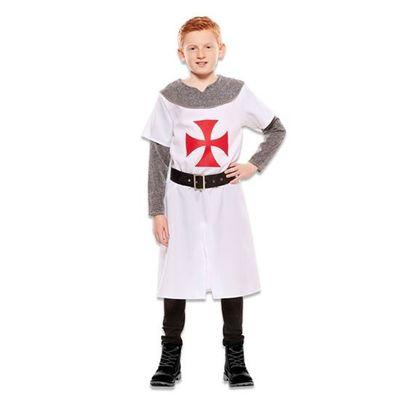Foto van Middeleeuwse wit ridder kostuum jongen