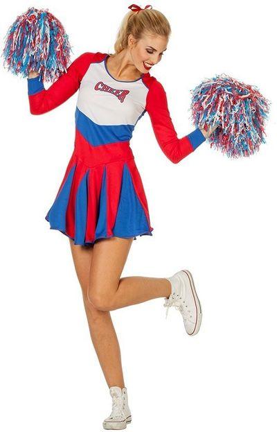 Cheerleader kostuum rood-wit-blauw - Luxe