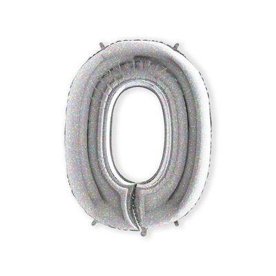 Foto van Folieballon cijfer 0 holografisch XL (100cm)