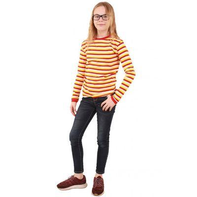 Rood wit geel gestreepte trui