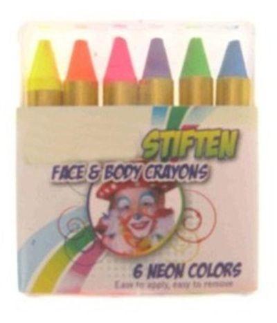 6 schmink stiften in doosje neon kleuren