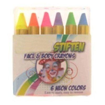 Foto van 6 schmink stiften in doosje neon kleuren