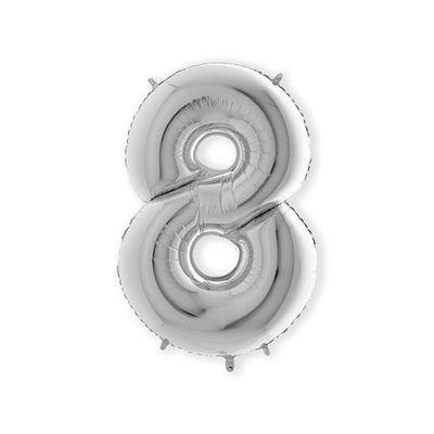 Folieballon cijfer 8 zilver XL (100cm)