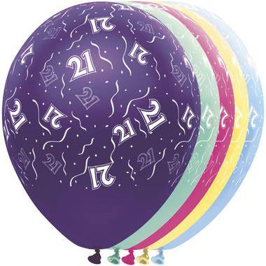 Leeftijd ballonnen 21 jaar 5 stuks