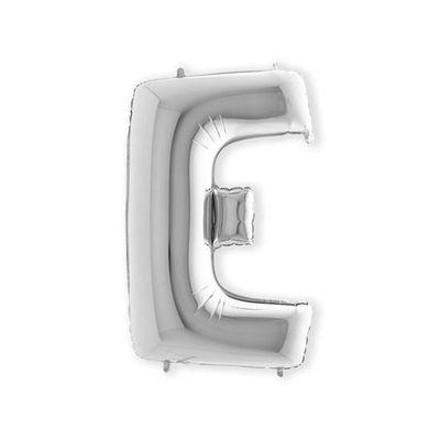 Folieballon letter E zilver XL (100cm)