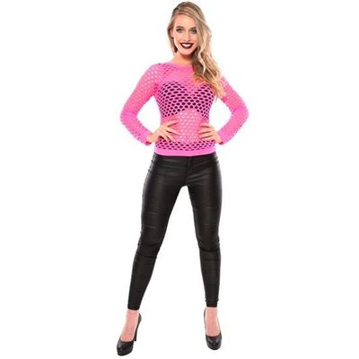 Visnet shirt neon roze