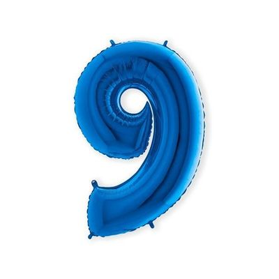 Foto van Folieballon cijfer 9 blauw XL (100cm)
