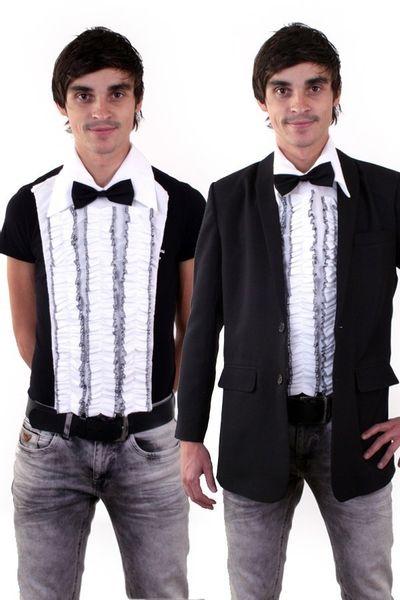 Ruches blouse met strik (enkel voorkant) heren