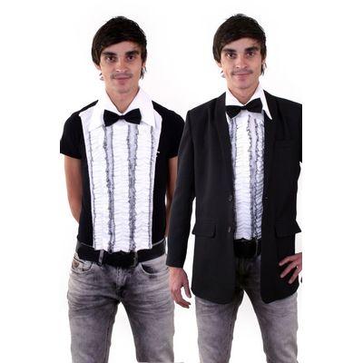 Foto van Ruches blouse met strik (enkel voorkant) heren