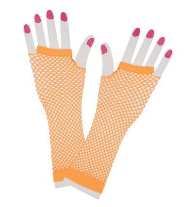 Net handschoenen neon oranje