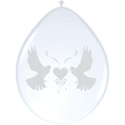 Ballonnen duiven metallic wit transparant (30cm) 8st