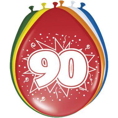 Foto van Leeftijd ballonnen 90 jaar 8 stuks