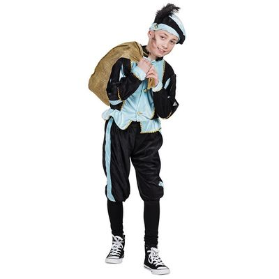 Foto van Kinderkostuum Piet blauw/zwart