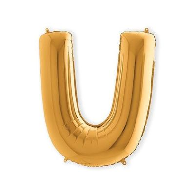 Foto van Folieballon letter U goud XL (100cm) (100cm)