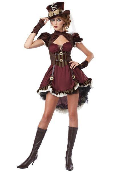 Steampunk jurk bordeaux rood/bruin dames