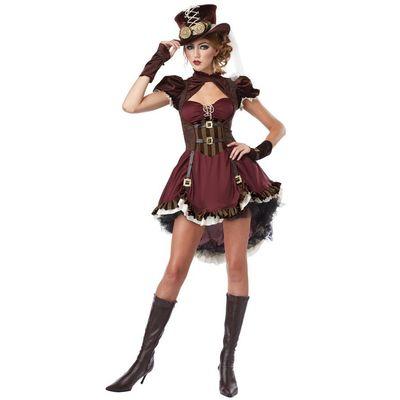 Foto van Steampunk jurk bordeaux rood/bruin dames