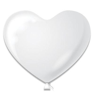 Ballonnen hartjes wit (38 cm) 4st