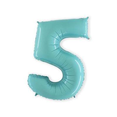 Foto van Folieballon cijfer 5 mintblauw XL (100cm)
