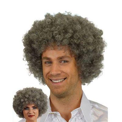 Afro Pruik mini grijs