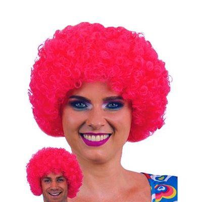 Afro pruik mini roze