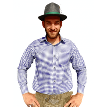 Oktoberfest overhemd - blauw geblokt