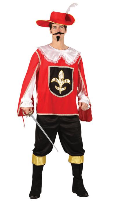 Musketier kostuum heren - rood