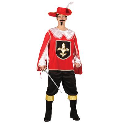 Foto van Musketier kostuum heren - rood