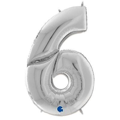 Foto van Folieballon cijfer 6 zilver XXL (163cm)