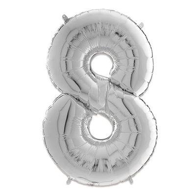 Foto van Folieballon cijfer 8 zilver (66cm)