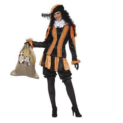 Foto van Fancy piet pietenpak dames oranje/zwart