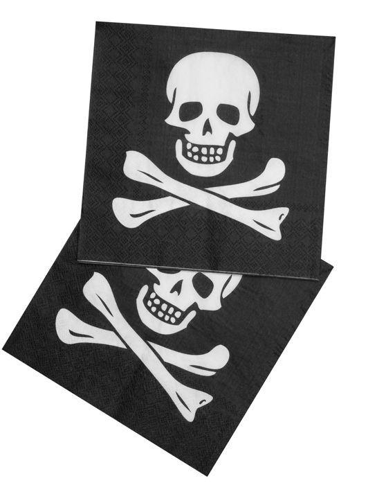 Foto van Set 12 Servetten Piraat (33 x 33 cm)